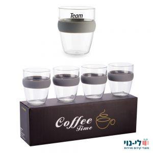 סט כוסות קפה שחור